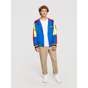 Men Zip Front Color Block Hoodied Coat