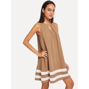 Cut Out Front Contrast Tape Dress