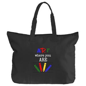 Art Where You Are 12oz Canvas Zippered Book Tote - Black