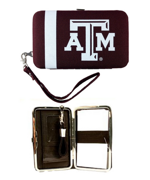 NCAA Distressed Shell Wristlet: Texas A&M Aggies