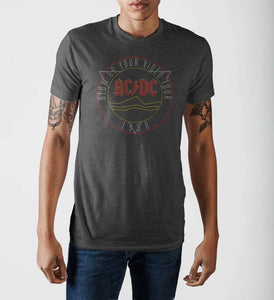 Ac/dc Blow Up Your Video Tour Grey Soft Hand T-Shirt - S / Charcoal / - T-Shirt