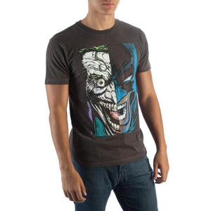 Batman/joker Half Face T-Shirt - S / Black / - Dc Comics