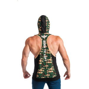 Born To Lift Two Tone Stringer Hoodie - Green/camo And Blue/neon - Fitness Hoodie