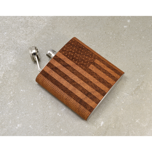 Mahogany American Flag Hip Flask