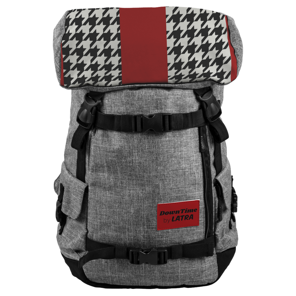 DownTime by LATRA 25L Penryn Red and Black Hounds Tooth Backpack