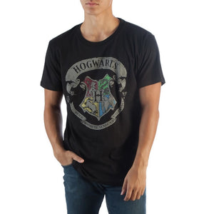 Hogwarts Banner Crest Adult Male T-Shirt - S / Black / - Warner Bros T-Shirt