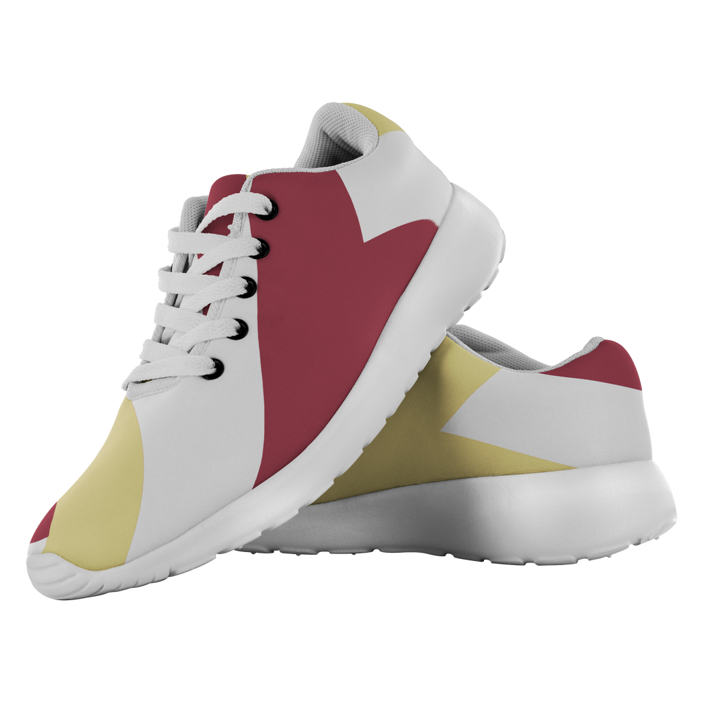 Forward Momentum by LATRA Running Shoes in Garnet, Gold, and White
