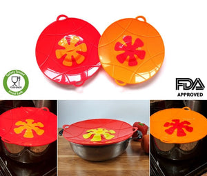 Large Silicone Pan Lid Overflow Spill Stopper 13 Inch Stove Top Protection Boil Over Safeguard - Kitchen Tools