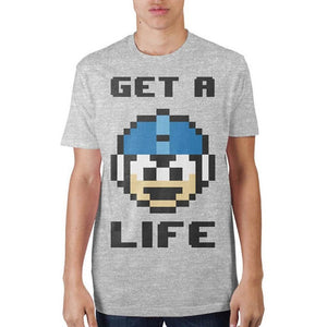 Mega Man Get A Life Grey T-Shirt - S / Athletic Heather / - T-Shirt