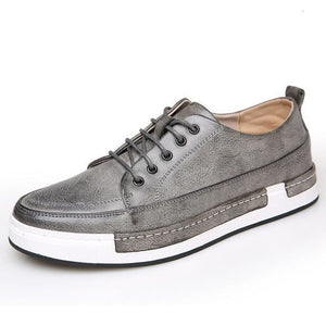 Mens Casual Breathable Leather Lace Up Shoes - Grey Sneakers / 6