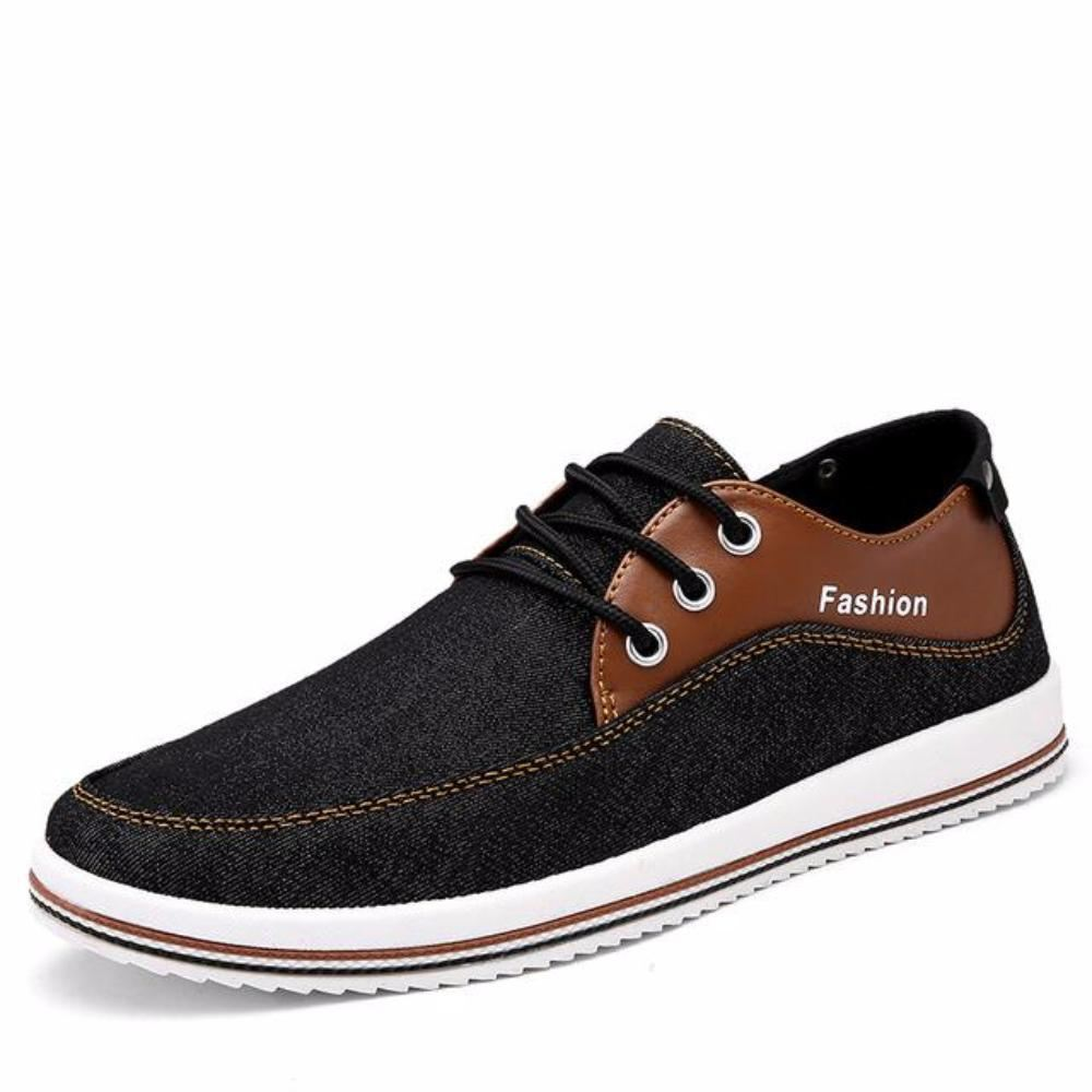 Mens Casual Breathable Street Style Lace Up Flats - Black / 11 - Shoes