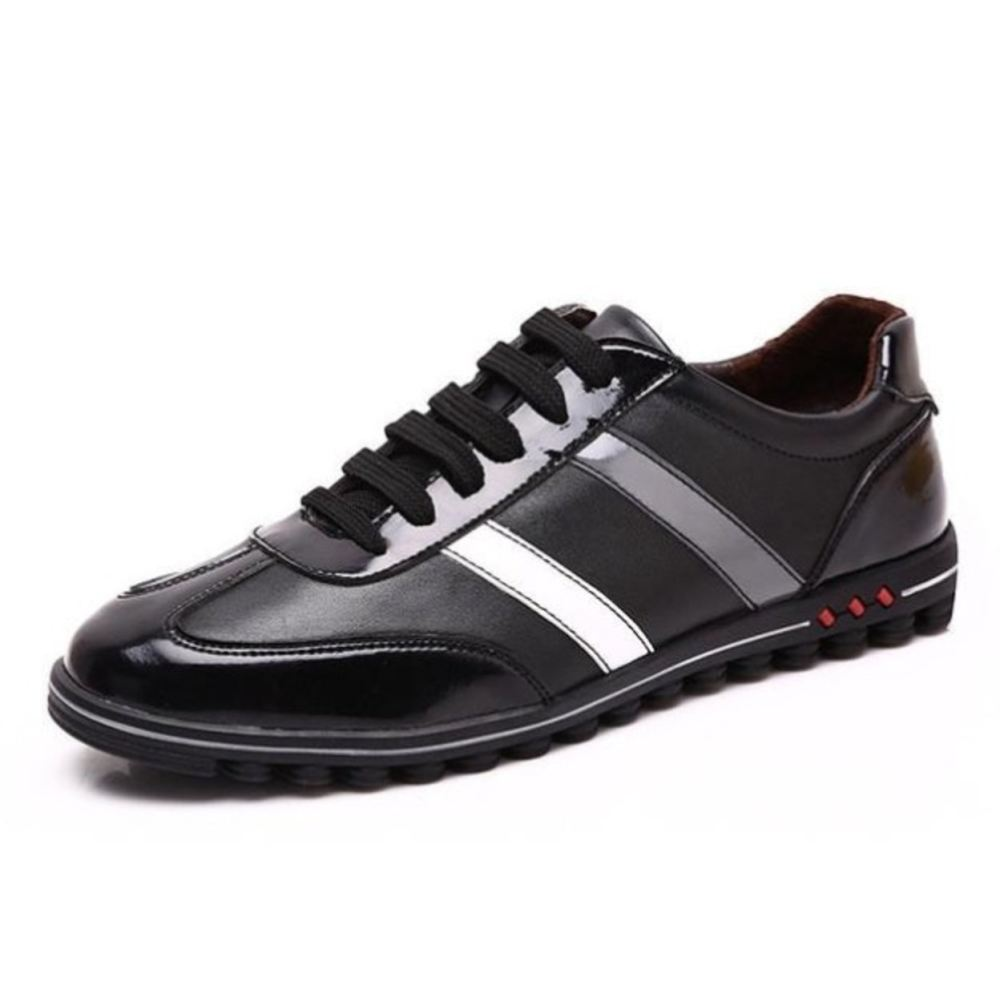 Mens Casual Lace Up Leather Shoes With Stripe - Black White Shoes / 5.5