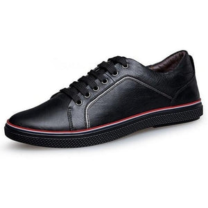 Mens Casual Leather Lace Up Sneakers - Black Shoes / 11