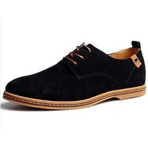 Mens Causal Suede Lace Up Shoes - Black / 11