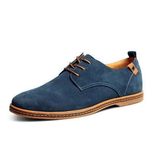 Mens Causal Suede Lace Up Shoes - Blue / 11