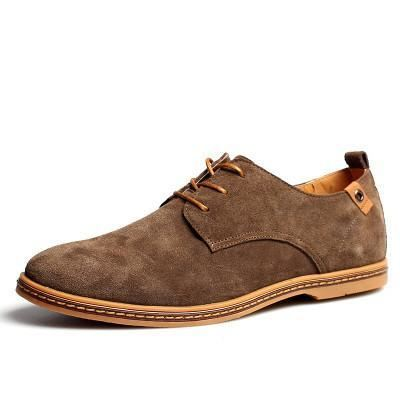 Mens Causal Suede Lace Up Shoes - Khaki / 11