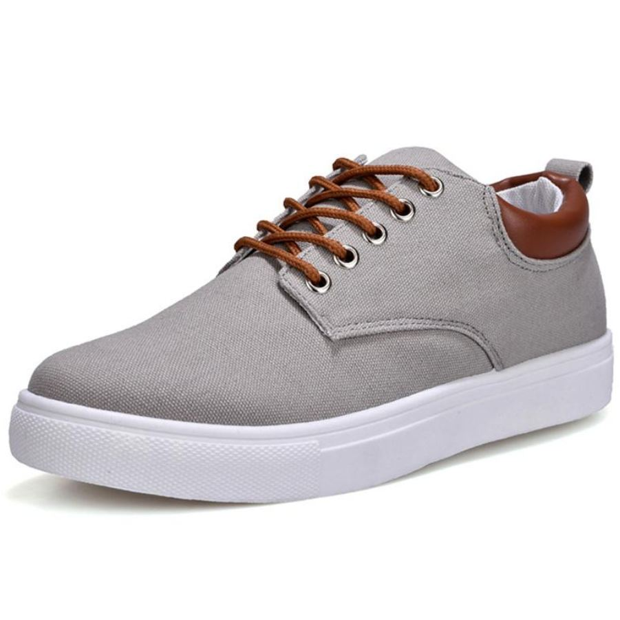 Mens Comfortable Casual Canvas Shoes - Gray / 11