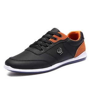 Mens Faux Leather Lace Up Breathable Shoes - Black Shoes / 6.5