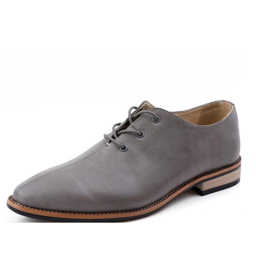 Mens Lace Up Casual Oxrord Shoes - Gray / 6.5