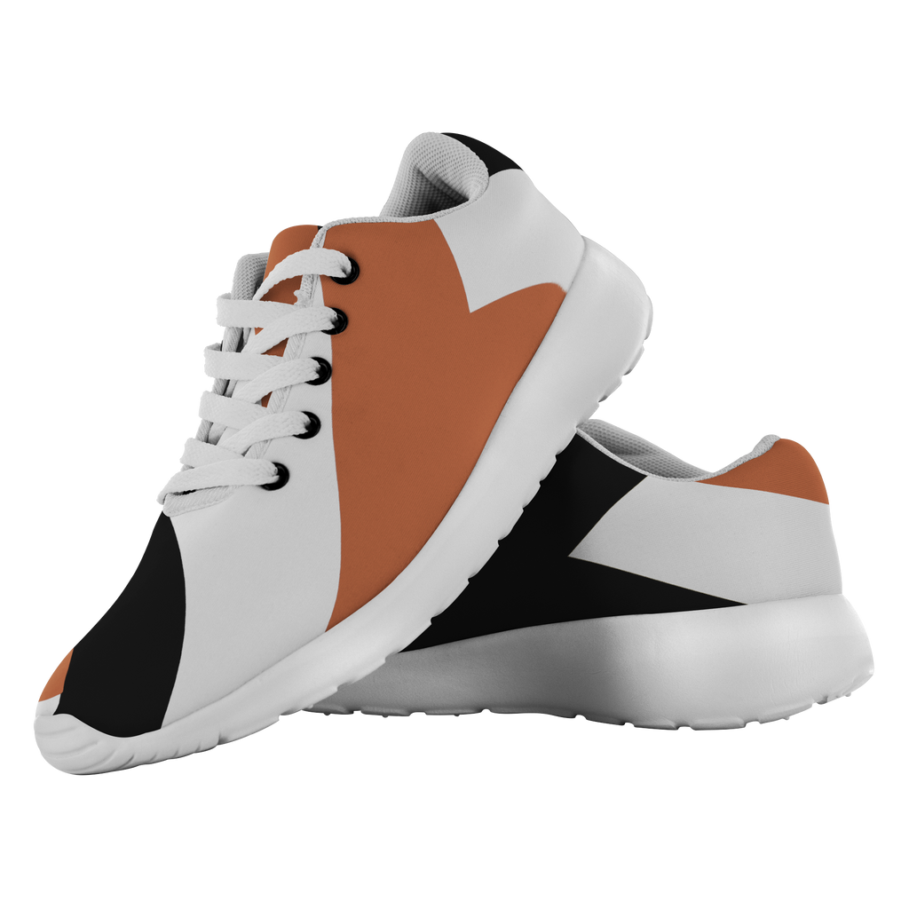 Forward Momentum by LATRA Running Shoes in Burnt Orange, Black, and White