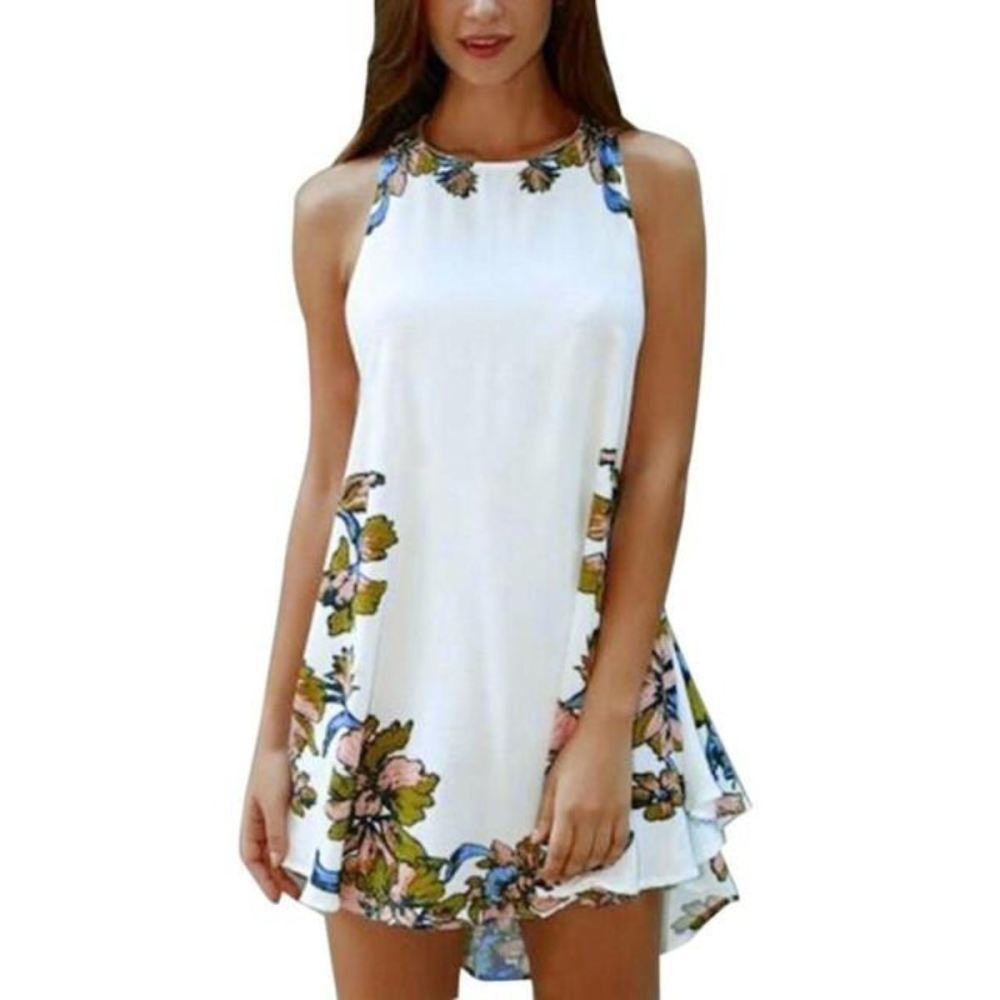 Summer Sleeveless One Piece Floral Mini Dress - White / Xs