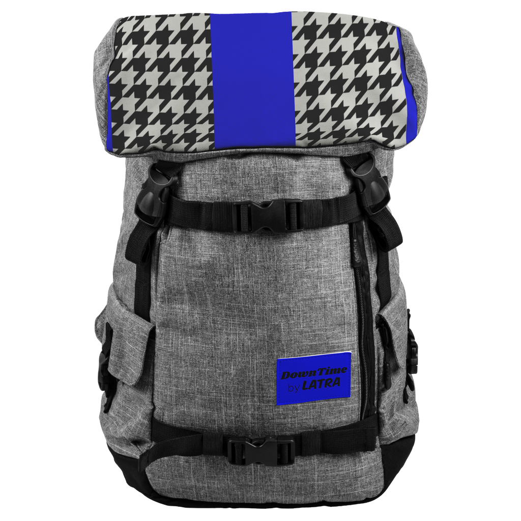 DownTime by LATRA 25L Penryn Royal and Black Hounds Tooth Backpack
