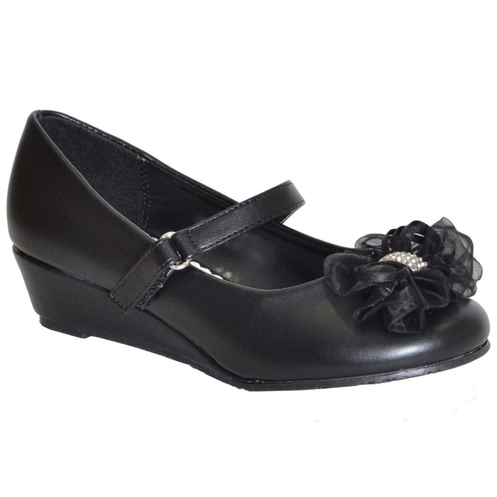 Toddler & Youth Wedge Pump - Black - 1 / - Kids Shoes