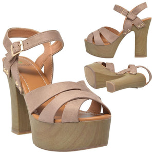Womens Ankle Strap High Heel Platform Sandal - Shoes