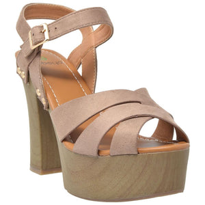 Womens Ankle Strap High Heel Platform Sandal - 5 / Taupe - Shoes