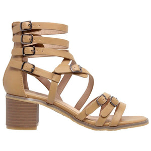 Womens Block Heel Gladiator Sandal - Shoes