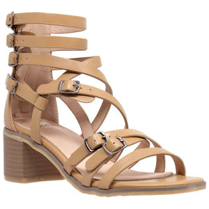 Womens Block Heel Gladiator Sandal - 10 / Tan - Shoes
