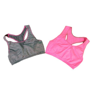 Womens C9 By Champion Girls Racerback Sports Bra 2 Pack - Grey And Pink/pink / Large