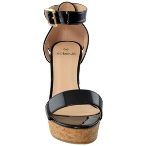 Womens Cork Wedge Platform Sandal - Shoes