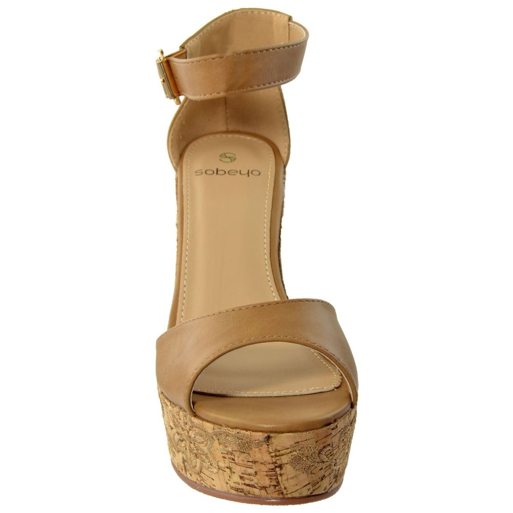 Womens Embroidered Platform Wedge Sandal - Shoes