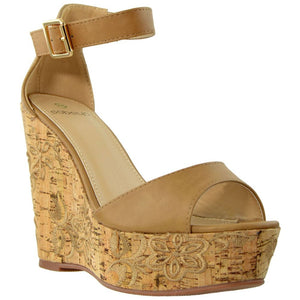 Womens Embroidered Platform Wedge Sandal - 10 / Tan - Shoes