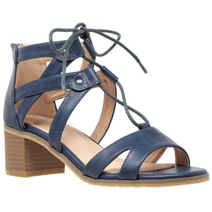 Womens Lace Up Block Heel Sandal - 10 / Teal - Shoes