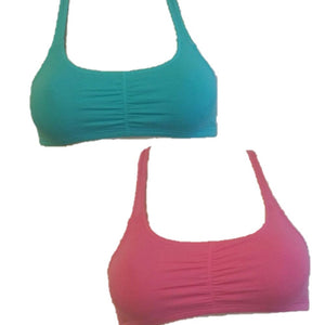 Womens New Hanes Girls Sports Top Size Small 2-Pack - Aqua & Pink / - Bra