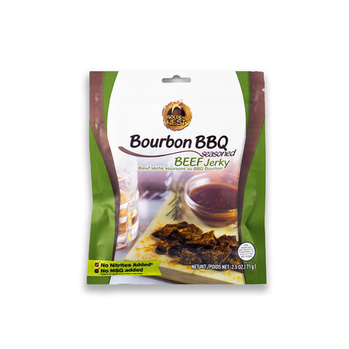 Golden Nest Jerky - Bourbon BBQ Seasoned Beef Jerky Bites  ( 1 bag = 2.5 oz )