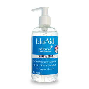 bluAid 70% Alcohol Advanced Hand Sanitizer with Pump - 8.5 fl oz ( Pack of 4, 6 and 12 )