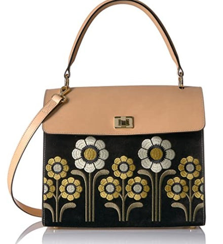 Orla Kiely Suede Embroidery Bag
