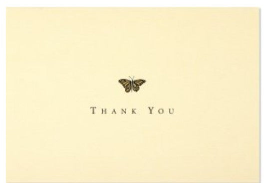 'Thank You 'Notecards - Gold Butterfly