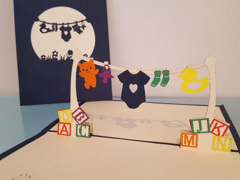 Pop Up Cards - Baby Clothesline Blue