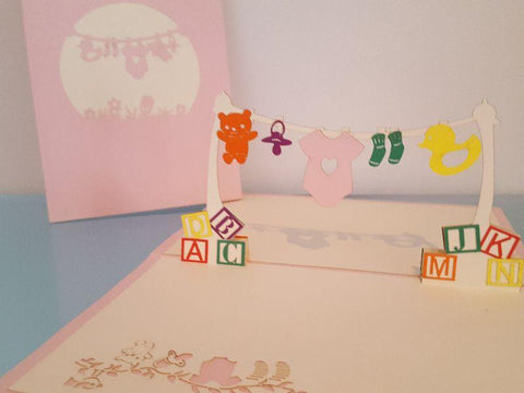 Pop Up Cards - Baby Clothesline Pink