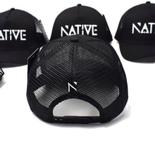 The Black and white Native Mesh Trucker cap