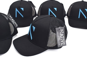 The Black and Blue Signature 'N' Mesh Trucker Cap