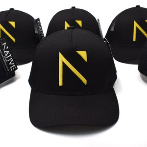 The Black and Yellow Signature 'N' Mesh Trucker Cap