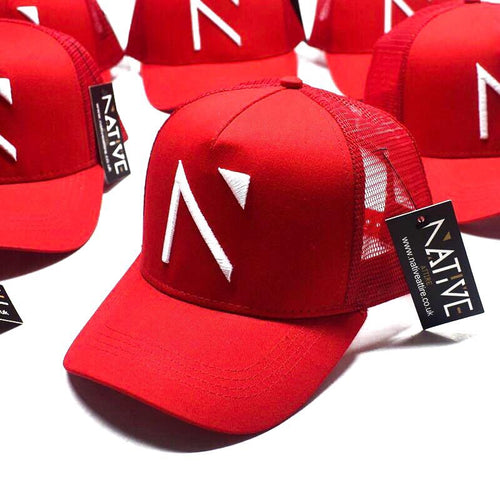 The Red Signature 'N' Mesh Trucker Cap