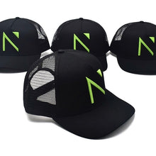 The Black and Neon Green Signature 'N' Mesh Trucker Cap