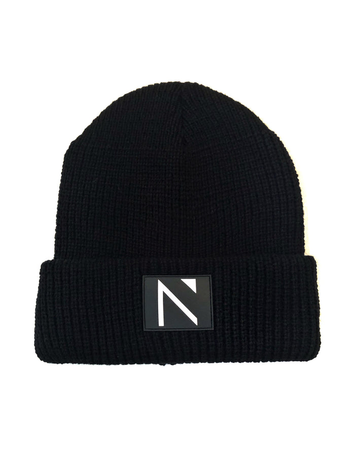 The Black Ribbed Signature N Beanie