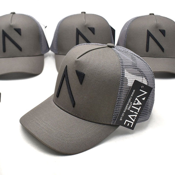 The Grey and Black Signature 'N' Mesh Trucker Cap